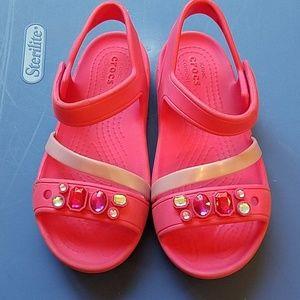 Girls Crocs Jeweled Sandals Sz C12 12